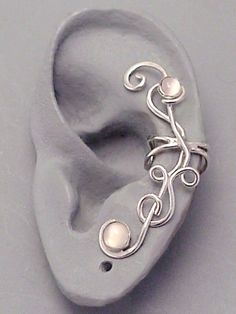 Sterling Silver Moonstone EAR CUFF  MOONFLOWER by SunnySkiesStudio, $49.50