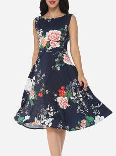 Floral Printed Vintage Round Neck Skater-dress