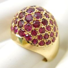Ruby Dome Ring 14K Gold Vintage 1950-60's 57 Faceted Gemstones Size 8.5 8.2 Gram #Cocktail