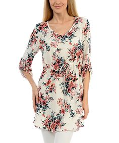 Look at this Magic Fit White & Peach Floral Tie-Waist Tunic on #zulily today!