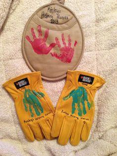 Handprints!  Birthday presents for grandparents