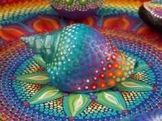 Painted Seashell, Dot Mandala Seashell, Art by Kaila Lance, Turquoise, Dot Art, Sacred Geometry by KailasCanvas on Etsy https://www.etsy.com/listing/507903806/painted-seashell-dot-mandala-seashell
