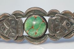 Vintage 1930 Navajo Sterling Silver & Turquoise Stacking Cuff Bracelet