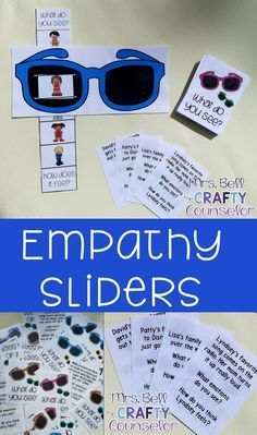 "Teach students empathy skills with this fun, interactive sliders game! Students pick a situation card, read it out loud and answer the question of ""what emotions do you see"" using their sunglasses sliders! There are also additional discussion questions o"