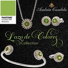 Andrea Candela_Celebrate Pantone's #ColoroftheYear2017 #Greenery by picking up these beautiful #peridot pieces from our Lazo de Colores Collection. All of these will compliment any wardrobe and help you feel refreshed, renewed, revitalized...exactly what 2017's #Pantone color inspires! #AndreaCandela #SterlingSilver