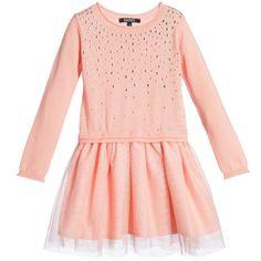 DKNY Peachy Pink Cotton Knit & Tulle Dress at Childrensalon.com