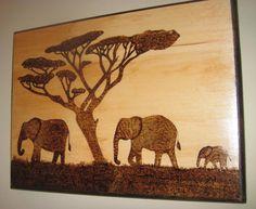 Elephant picturebaby elephant art wood burning  by ModernStatement, $55.00