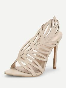 9bed7a087 Gold Caged Cutout Open Toe PU Heels