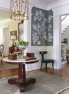 From New England Home Magazine Decorating With Tea Cads Two Create Symmetry On An Entry Table