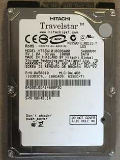 Hitachi Travelstar HDD Drive 5.4K RPM SATA 100GB 1.5Gbps 8MB 2.5 HTS541010G9SA00 #Brother
