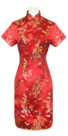 qipao avec tissu traditionnel rouge http://www.laciteinterdite.com/robe-chinoise-rouge-motif-dragon-c2x7403265