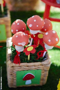 Mushroom cake pops at a Little Red Riding Hood birthday party! See more party planning ideas at CatchMyParty.com!