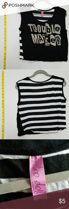 Trouble Maker Crop Top Black and white striped Trouble Maker crop top! Pre-loved with lots of life left in it! Perfect piece for bundling! Please comment for q&a! Offers considered!   NEXT DAY SHIPPING!  SMOKE-FREE HOME!  BEAUTY SAMPLES WITH EACH PURCHASE!  BUNDLES SAVE CASH AND SHIPPING COSTS ;-) Tops Crop Tops