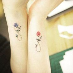 Infinity rose sister tattoos via Christina Archer