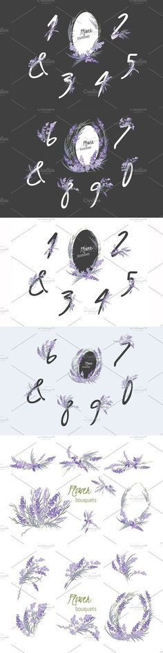 "â""–220 Lavender Flower numbers . Wedding Card Templates"