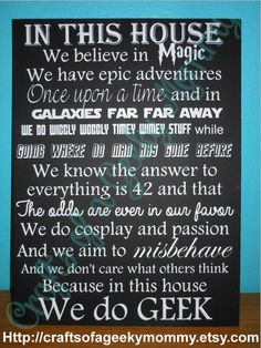 In This House we do Geek by CraftsOfAGeekyMommy on Etsy