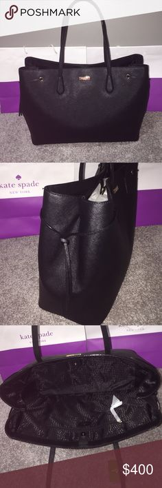 Kate Spade Ari Laurel Way Black Saffiano NWT Kate Spade Ari Laurel Way Black Saffiano Leather NWT Snap closure one zip pocket inside and two slip pockets. Sides of bag can be open wider.   Reasonable offers appreciated😄 kate spade Bags Totes