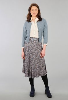 CASHMERE VINTAGE LACE KNIT CARDIGAN - Women's Cardigans | Brora || Love this outfit, but I wouldn't do such dark tights and shoes.