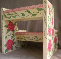 Children's Step Stool, hand painted furniture, vintage, roses, plaid, tassels, Glenda Okiev