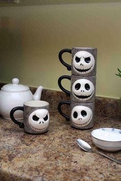 Jack Skeleton mugs, perfect for Halloween tea.