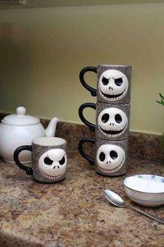 Jack Skeleton mugs, perfect for Halloween tea.