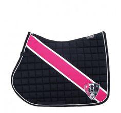 Horse English Dressage Eskadron Saddle Pad Blanket Black Navy Dark Blue Hot Pink White Stripe Sheild Logo
