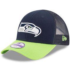 premium selection aafe9 2e8b8 Seattle Seahawks New Era Toddler Mascot Mixer 9FORTY Adjustable Hat -  College Navy Neon Green