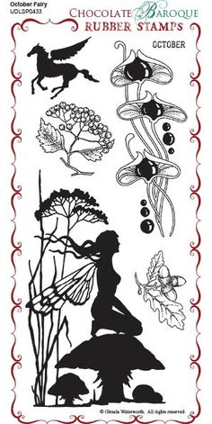 October Fairy Rubber Stamp sheet - DL - Chocolate Baroque