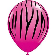 Our Hot Pink Zebra Stripe Latex Balloons feature a blazing pink background decorated with zebra stripes. Each package contains 100 - 11 inch latex Pink Zebra Stripe Balloons.