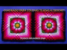 TEJIDOS MILAGROS ENA: Cuadrado tejido a crochet paso a paso para Colchas, cojines y cobijas para Bebe con lanas de colores