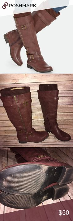 "Burgundy Wide Calf Tall Boots with Sweater Cuffs Awesome tall boots in a great burgundy shade with outer zip detail and buckled strap accents. Inner Zip closure for easy on/off. Sweater material adorns the top. Approx 1"" heel, 16.75"" shaft height and 17.5"" calf circumference. Check out my other listings to bundle and save 25% 😎! JustFab Shoes Over the Knee Boots"