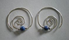 Sterling silver and lapis lazuli earrings.