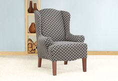 Sure Fit Slipcovers Stretch Chevron Wing Chair Slipcover - Wing Chairs