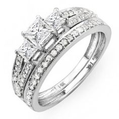 Shop a great selection of Carat (ctw) Gold Princess Cut 3 Stone Diamond Ladies Engagement Bridal Ring Set 1 CT. Find new offer and Similar products for Carat (ctw) Gold Princess Cut 3 Stone Diamond Ladies Engagement Bridal Ring Set 1 CT. Bridal Ring Sets, Bridal Rings, Wedding Rings, Contemporary Engagement Rings, Diamond Wedding Sets, Best Engagement Rings, Bridesmaid Jewelry Sets, Princess Cut Diamonds, Swarovski