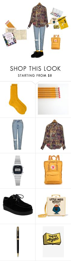 """""""I felt inspired today"""" by okay-aliya on Polyvore featuring Topshop, Moleskine, Religion Clothing, Casio, Fjällräven, Olympia Le-Tan, Parker and Valley Cruise Press"""