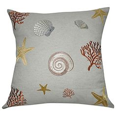 Add some nautical style to any room in your home with the colorful Loom & Mill Shell Square Throw Pillow. Features a sea life them inspired by the ocean. Well-constructed and ultra plush.