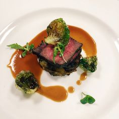 Fourth course: Wagyu Sirloin Cap with Duck Skin, Locally Foraged Mushrooms & Potato Hash and Thyme Madeira Sauce.