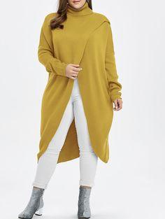 $17.67 Turtleneck High Slit Midi Plus Size Sweater