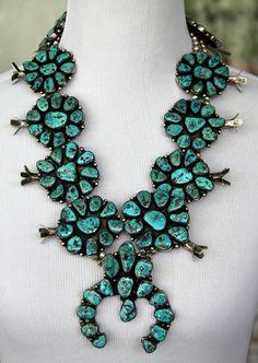 Vintage Heavy Turquoise Squash Blossom & Bracelet Set