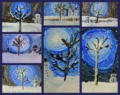 Sneeuwpop schilderen met kinderen van groep 2 t/m 5. Ik heb ze alleen blauwe, witte en zwarte verf gegeven.