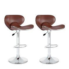 CorLiving Curved Form Fitting Leatherette Adjustable Barstool, Set of 2, Brown