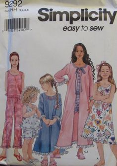 Simplicity 9292 Child's and Girl's by SewYesterdayPatterns on Etsy (Craft Supplies & Tools, Patterns & Tutorials, Sewing & Needlecraft, Sewing, commercial, butterick pattern, crafts pattern, sewyesterdaypatterns, crafts supplies, childrens pattern, childs pajamas, boys pajamas, pajamas pattern, girls pjs pattern, sewing pattern, sewing supplies, size 3 4 5 6)