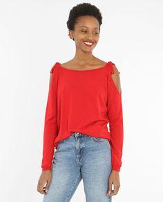 Pull épaules dénudées rouge
