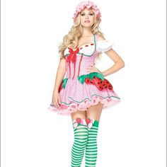 Women's Strawberry Shortcake Costume It includes Dress, Hat, and Stockings                            Brand New - In Original Package - Worn Once Other