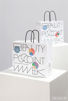 Beauty Point Week on Behance Paper Packaging, Bag Packaging, Product Packaging, Packaging Design Inspiration, Graphic Design Inspiration, Identity Design, Logo Design, Visual Identity, 3d Design