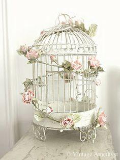Vintage Pink Rose Garland on Birdcage