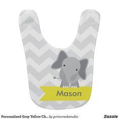 Personalized Gray Yellow Chevron Elephant Bib