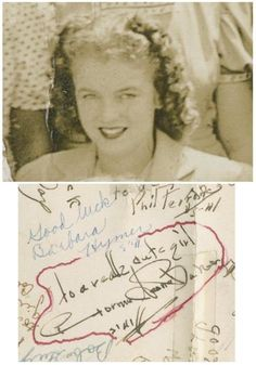 """High School summer class of 1941 featuring a Norma Jeane Baker. The photo features signatures dozens of students on the verso, including the future Marilyn Monroe, """"To a really cute girl, Norma Jeane Baker. Young Marilyn Monroe, Norma Jean Marilyn Monroe, Summer Classes, High School Classes, Feeling Unloved, She Movie, Norma Jeane, 14 Year Old, Picture Show"""