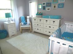 I like this these colors but I would do teal walls with gray accents.  It has a lot of white, which we are definitely planning on.  Those accents may be a little too blue, I want more teal.  But I still love the look overall!