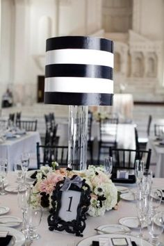 Black/white Lampshade centerpieces I made for my wedding
